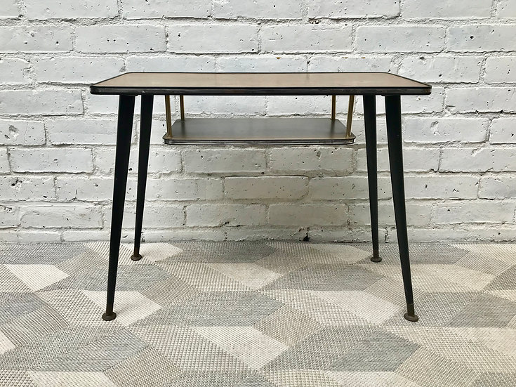 Small Side Coffee Table with Shelf Vintage #739