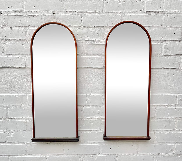 Pair of Vintage Wall Mirrors with Bevelled Glass