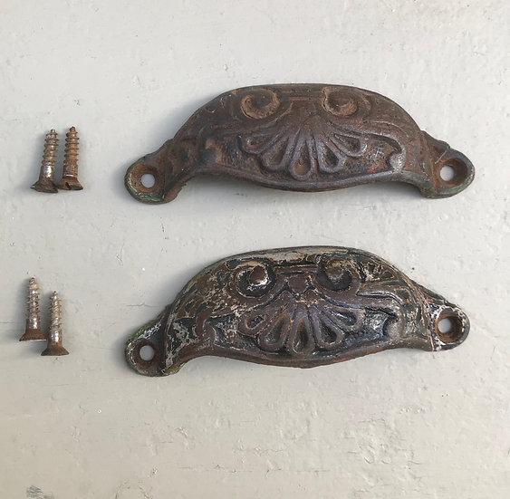Pair Victorian Vintage Drawer Pulls Handles Metal #643