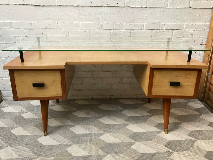 Vintage Retro Desk with Drawers Glass Wood #668