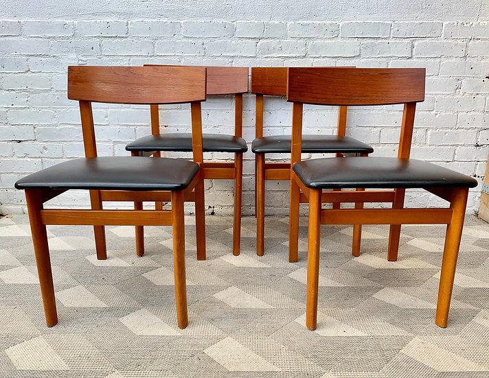 Set of 4 Vintage Dining Chairs Black Vinyl #D354