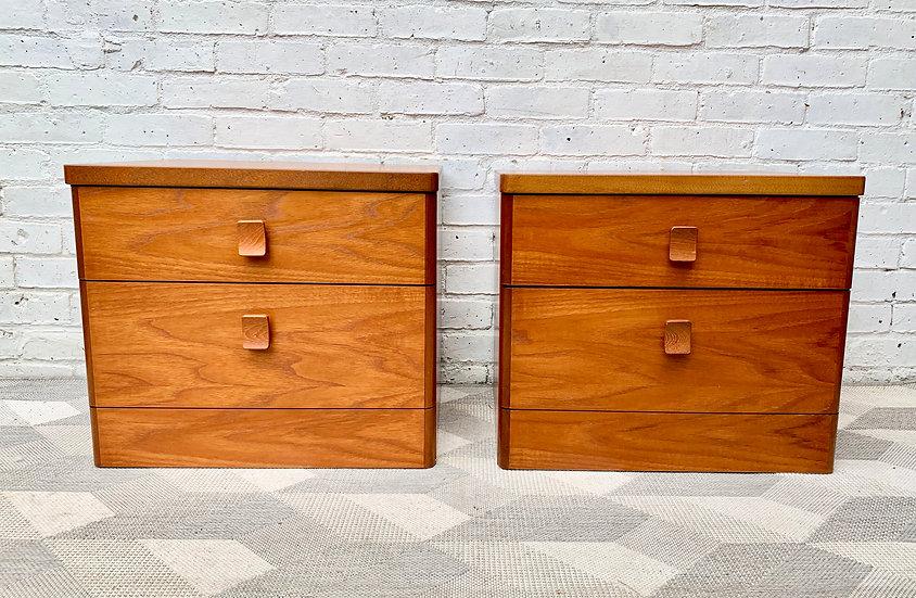 Vintage Bedside Table Drawers Pair Teak #D161