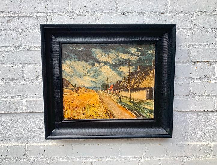 Vintage Oil Painting Landscape Black Frame