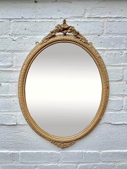 Antique Oval Bevelled Mirror Gilt Frame