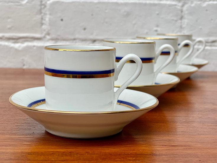 4 Richard Ginori Espresso Cups and Saucers Blue Gold line