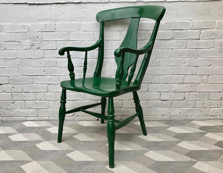 Victorian Farmhouse Grandfather Chair Green #595