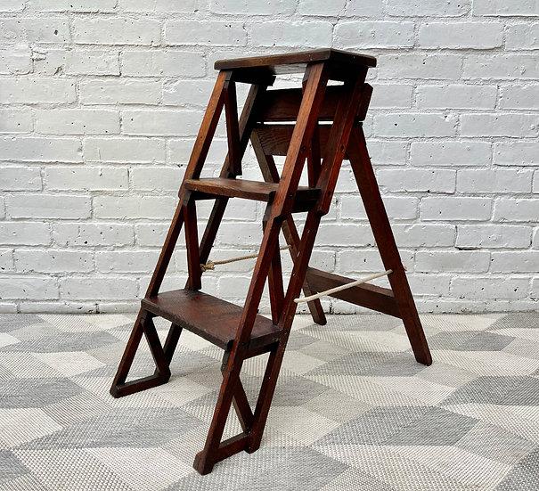 Vintage Folding Wooden Step Ladder Oak