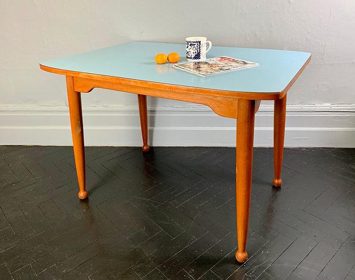 Vintage Dining Table Kitchen Formica Blue #921