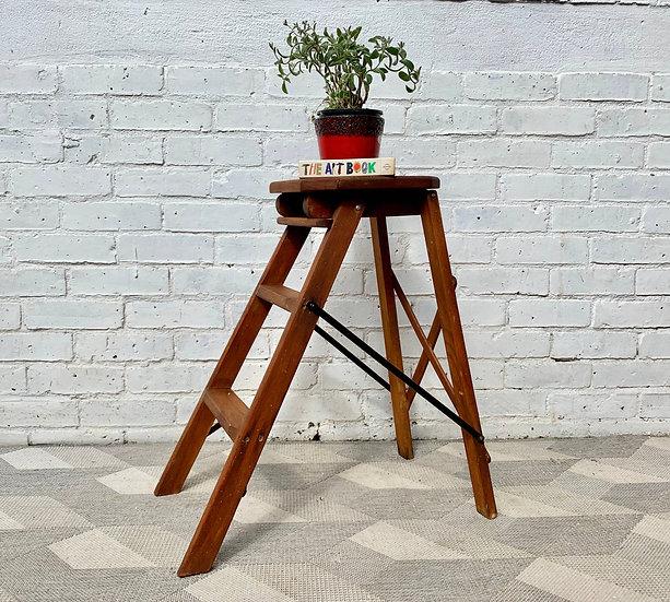 Vintage Folding Step Ladder Wooden #D365