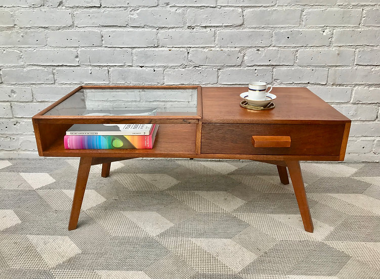 Mid Century Teak Coffee Table with Drawer #859