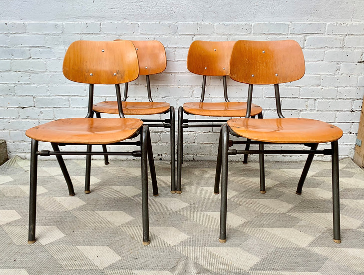Vintage Stacking School Chairs Ply Wood Metal #D334