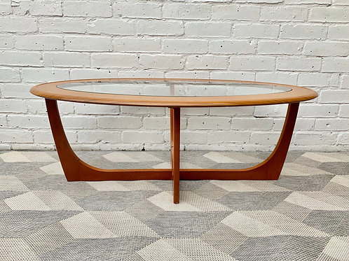 Vintage Oval Glass Coffee Table front