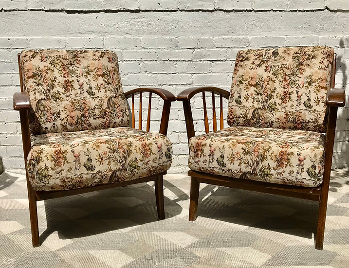 Pair of Vintage Retro Armchairs Wooden #753