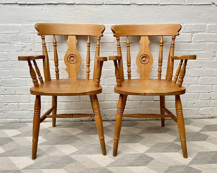 Pair of Country Style Wooden Dining Chairs  front