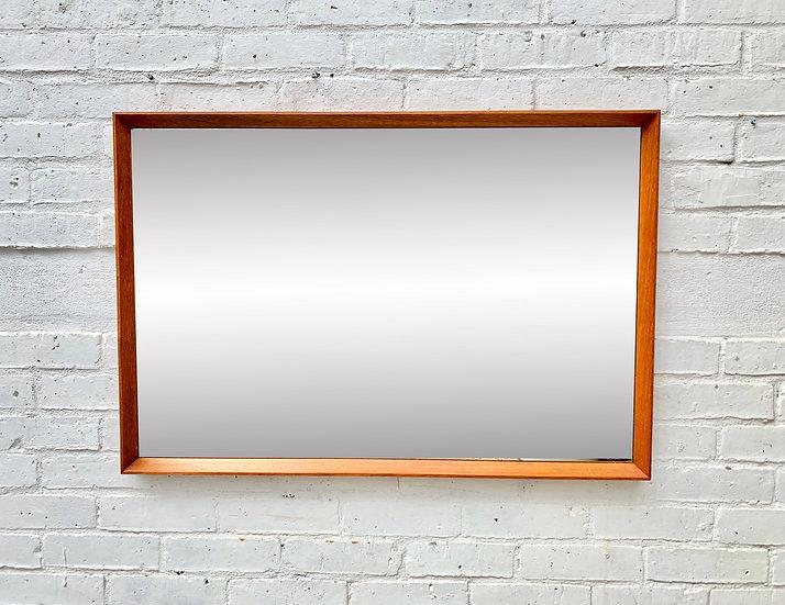 Vintage Rectangular Mirror Teak Frame #D357