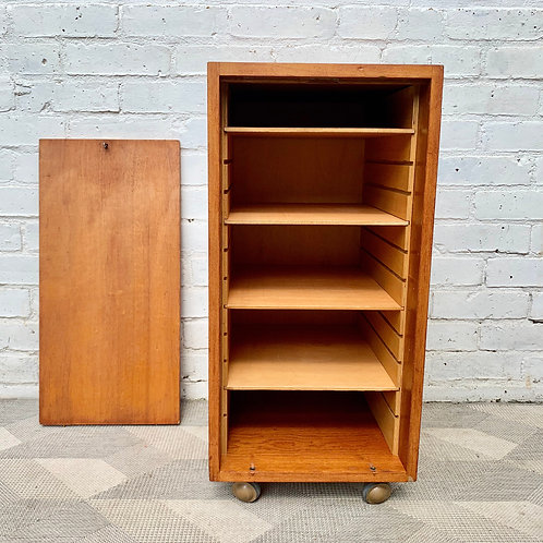 Small Vintage Teak Filing Cabinet with Lock
