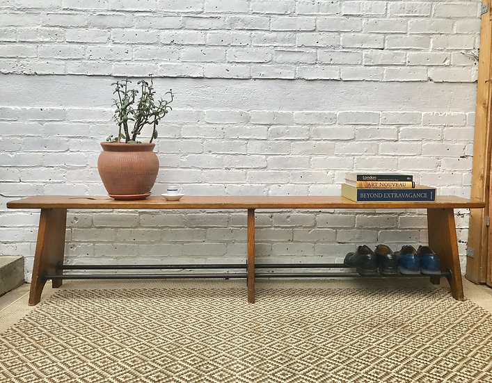 Arts and Crafts Long Wooden Bench #418