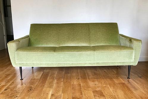 Vintage Retro Sofa Settee Green Velvet French #827
