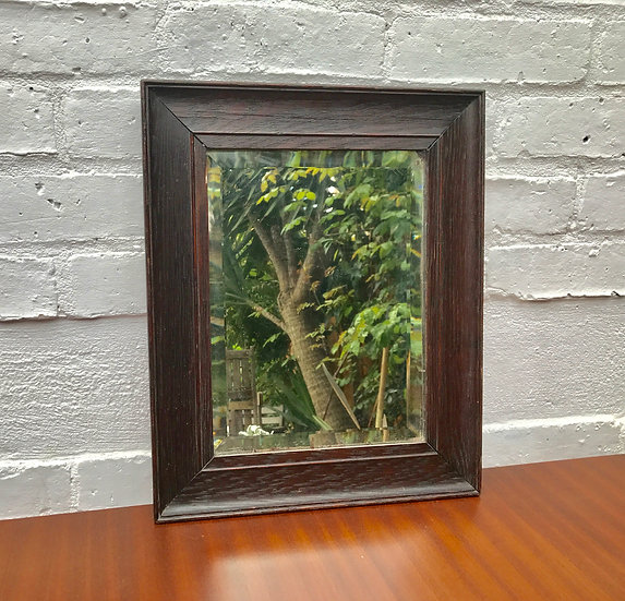 1930s SMALL WOODEN ANTIQUE MIRROR