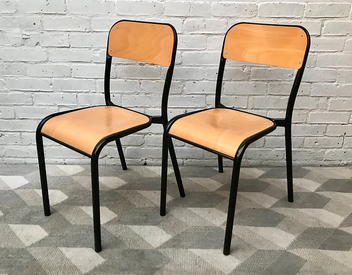 Pair of Vintage School Desk Chairs French Industrial #869