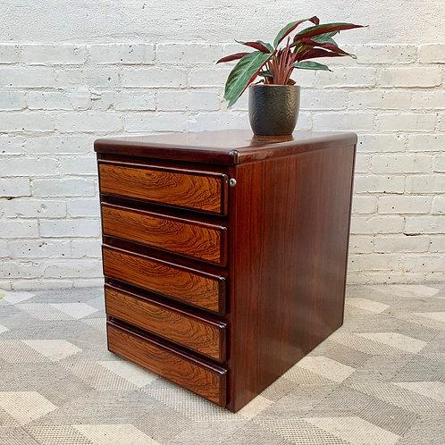 Small Rosewood Filing Cabinet under Desk Storage #D423
