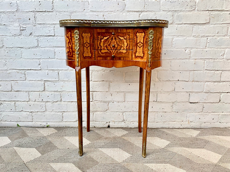 Vintage Side Table Louis XVI Style Inlaid #D145