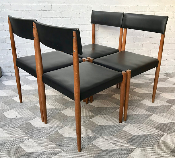 Vintage Black Vinyl Dining Chairs Set of 4 #506