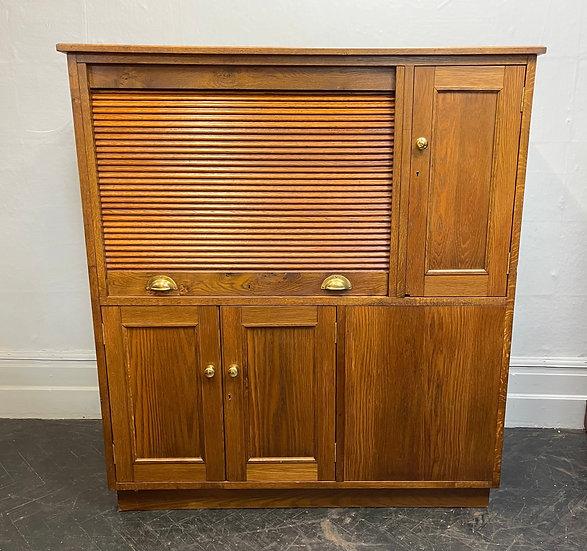 Large Vintage Tambour Cabinet Desk Cupboard