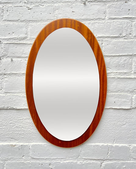 Vintage Oval Mirror Teak Frame