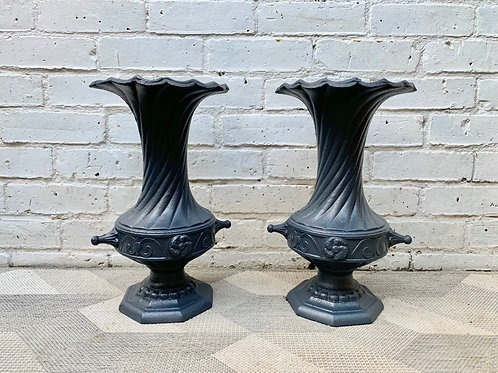 Pair of Vintage Cast Iron Urns Planters #D414