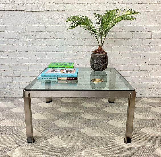 Vintage Glass Coffee Table Large Square Industrial style