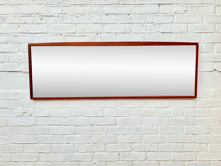 Vintage Rectangular Wall Mirror Teak Frame #D316