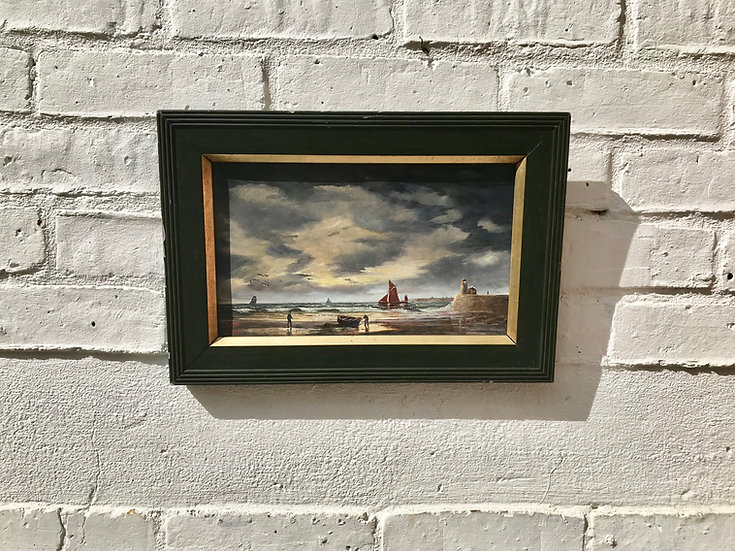 Victorian Seascape Oil Painting Lighthouse #812
