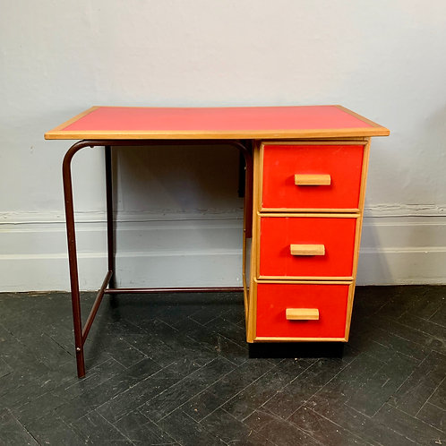 Small Vintage Wooden Desk With Drawers Red #D5