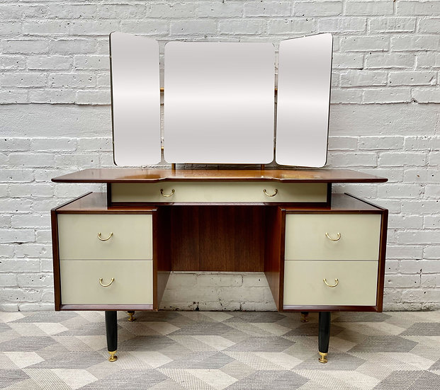 Vintage G Plan Dressing Table with Drawers and Mirror front