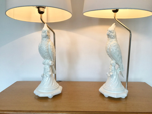 Cockatoo lamp pair available