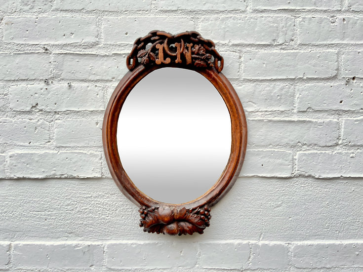 Antique Oval Mirror Carved Wooden Frame front