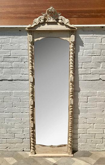 Vintage Full Length Mirror White Wood Frame French #705