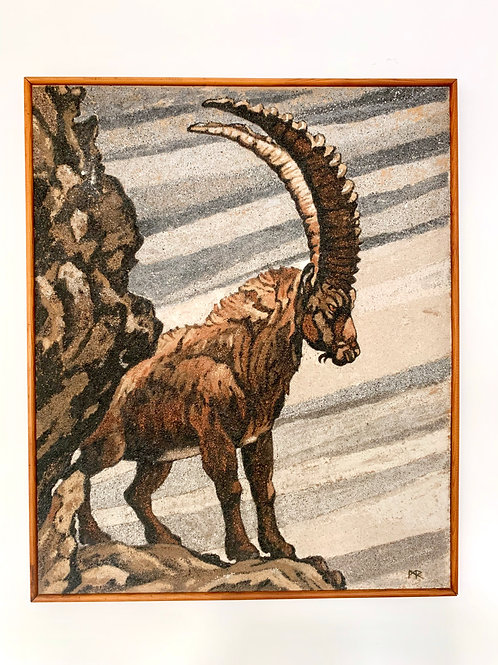 Vintage Painting of Mountain Ibex Goat Framed #D489