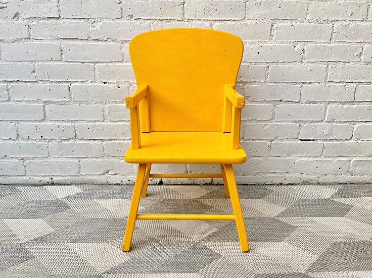 Vintage Wooden Child's Kids Chair Yellow