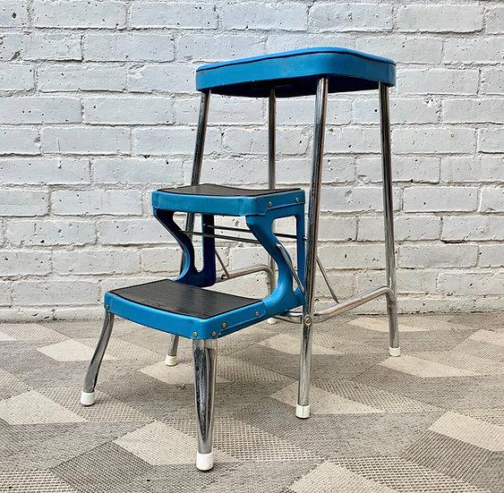 Vintage Folding Step Ladder Blue by Prestige
