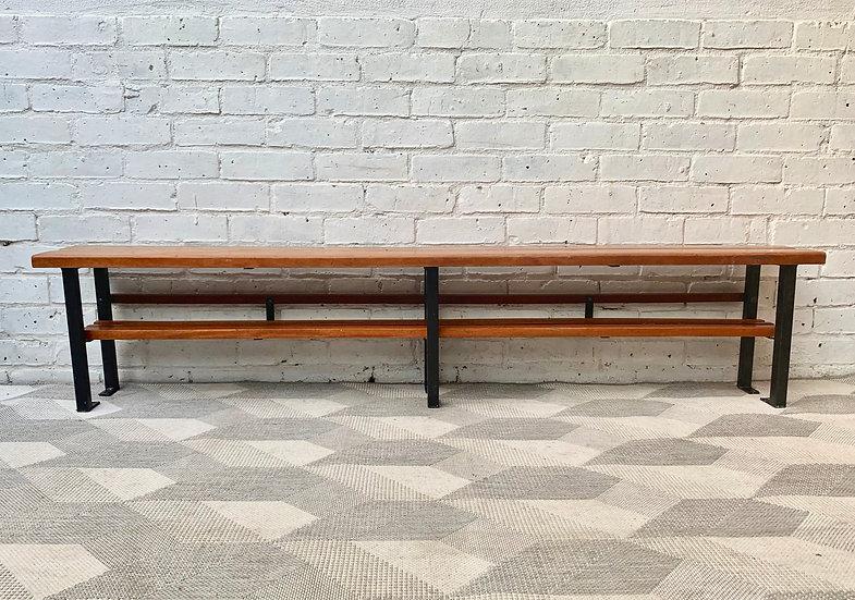 Vintage School Shoe Bench Hallway Bench Teak #D190