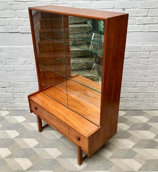Vintage Bookshelf Cabinet Glass Mirror Wood #698
