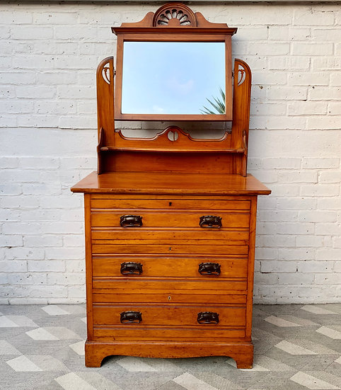 Arts and Crafts Dressing Table Drawers with Mirror front