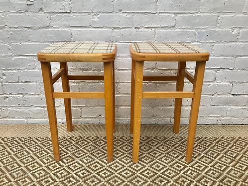 Pair of Retro Wooden Stools #343