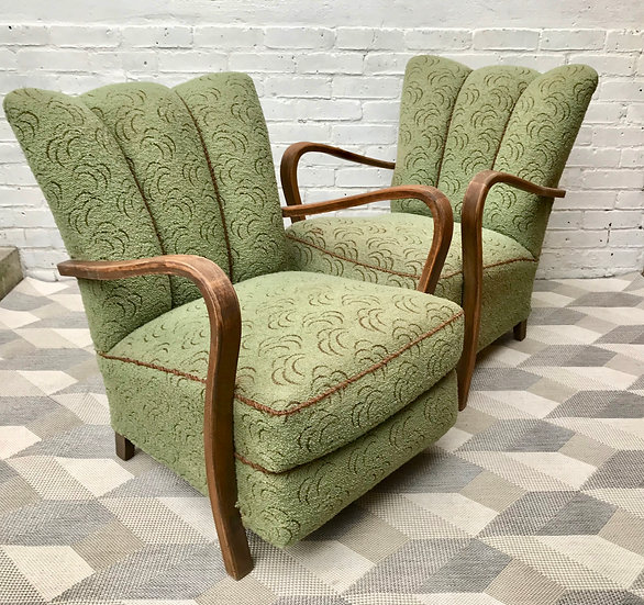 Pair of Art Deco Armchairs Green #468
