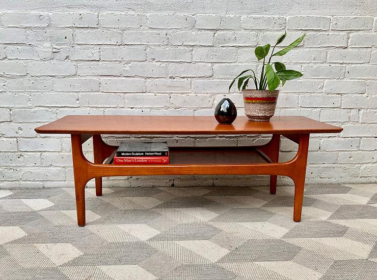 Vintage Coffee Table With Shelf Teak #D174