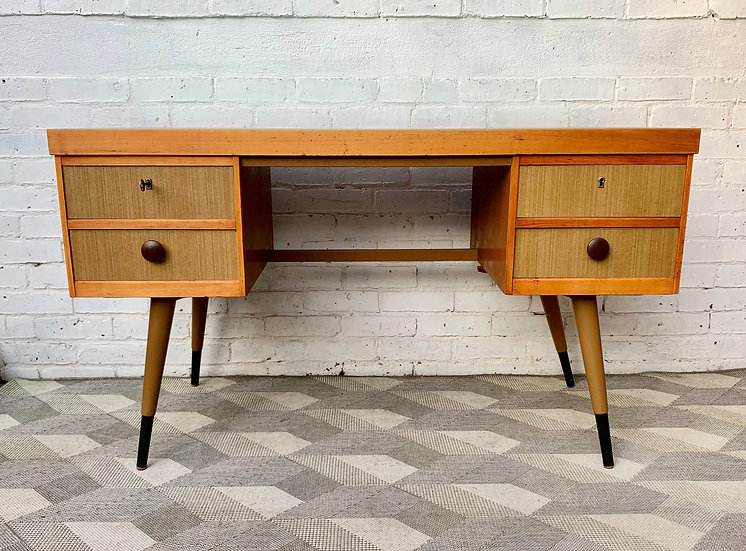 Vintage Desk with Drawers and Formica Top front