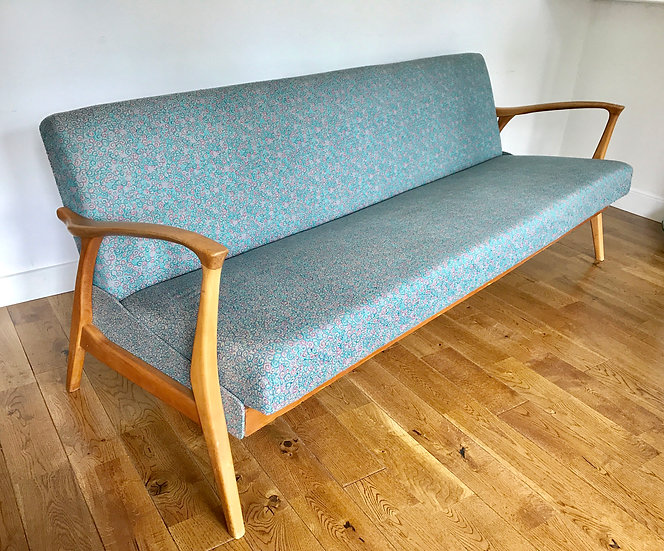 1960s VINTAGE RETRO SOFA BED BLUE GREY