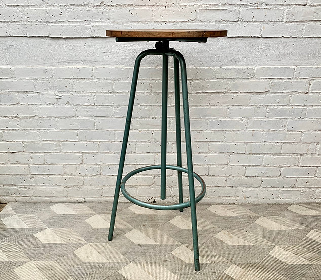 Vintage Industrial High Table Round Adjustable Height #D266